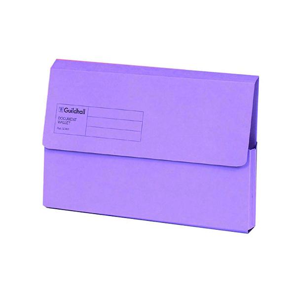 Exacompta Guildhall Document Wallet Foolscap Violet (50 Pack) GDW1-VLT
