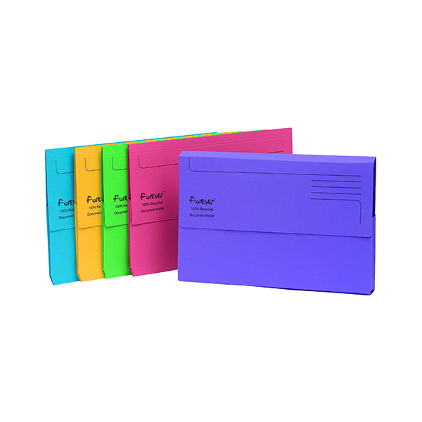 A4 Exacompta Forever  Document Wallet Manilla Foolscap Assorted (25 Pack) 211/5000