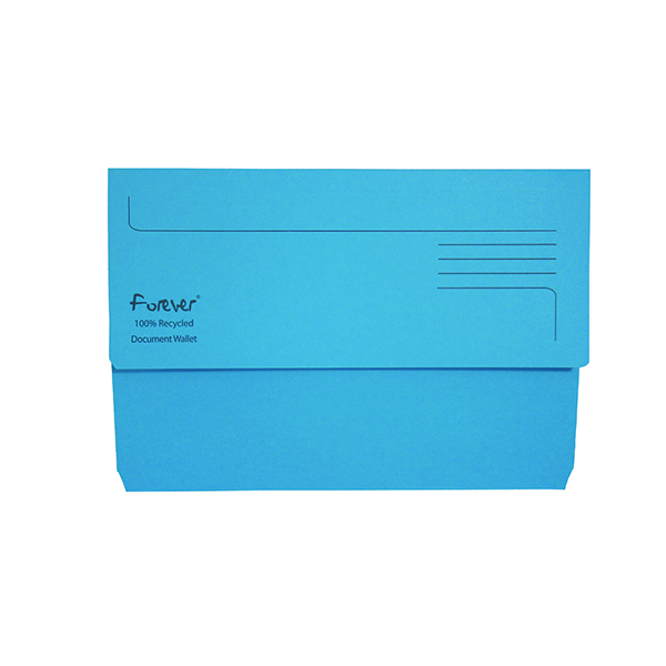A4 Exacompta Forever Document Wallet Manilla Foolscap Bright Blue (25 Pack) 211/5001