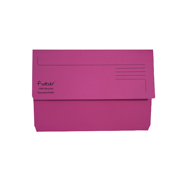 A4 Exacompta Forever Document Wallet Manilla Foolscap Bright Pink (25 Pack) 211/5002