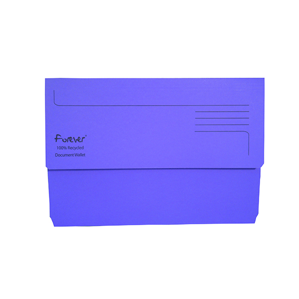 A4 Exacompta Forever Document Wallet Manilla Foolscap Bright Purple (25 Pack) 211/5005