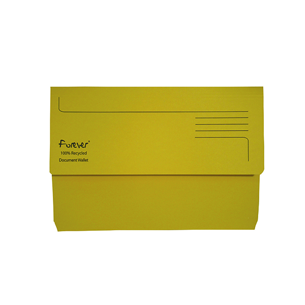 A4 Exacompta Forever Document Wallet Manilla Foolscap Bright Yellow (25 Pack) 211/5003
