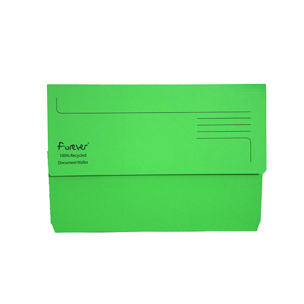 Exacompta Forever Document Wallet Manilla Foolscap Bright Green (25 Pack) 211/5004