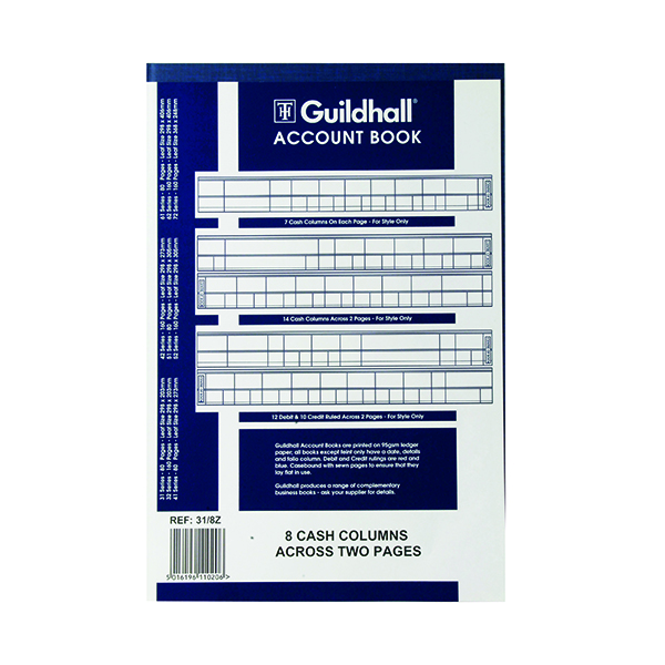 Accounts Books Exacompta Guildhall 8 Cash Columns Account Book 80 Pages 31/8 1020