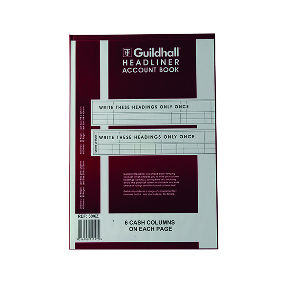 Accounts Books Exacompta Guildhall Headliner 6 Cash Column Account Book 38/6 1147