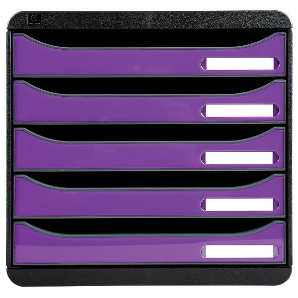 5 Drawer Exacompta Iderama Big Box Plus 5 Drawer Set Purple 3097220D