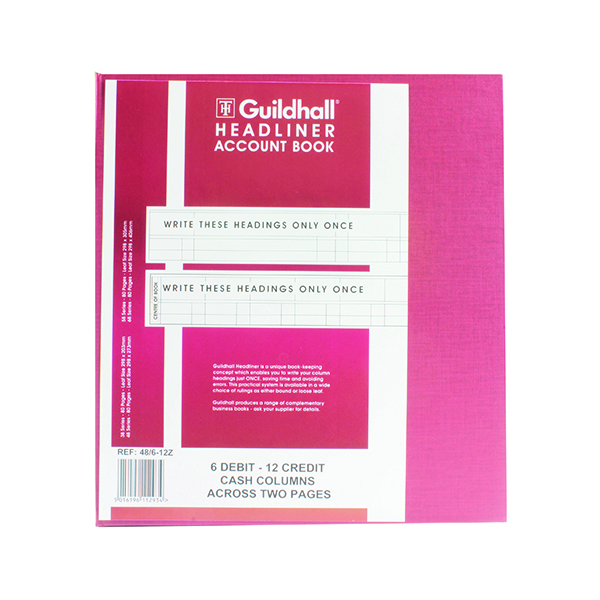 Accounts Books Exacompta Guildhall 298x273mm Headliner Book 80 Pages 48/6-12 1293