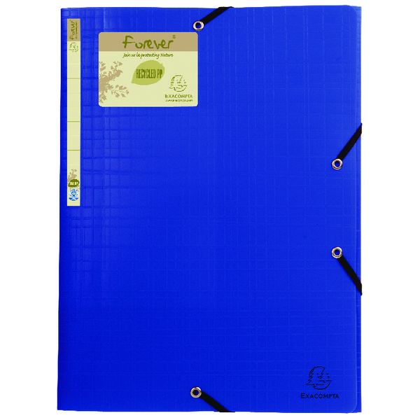 Exacompta Forever Elasticated 3 Flap Folder Blue (15 Pack) 551572E