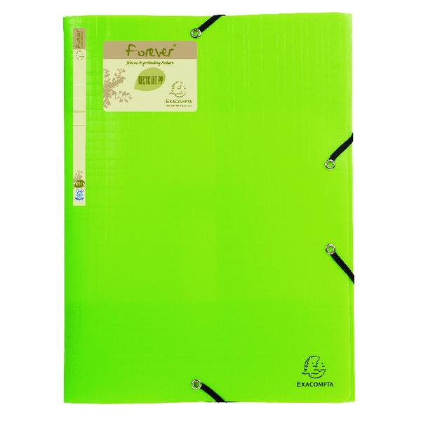 Exacompta Forever Elasticated 3 Flap Folder Lime (15 Pack) 551573E