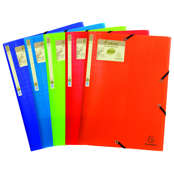 Exacompta Forever Elasticated 3 Flap Folder Assorted (15 Pack) 551570E