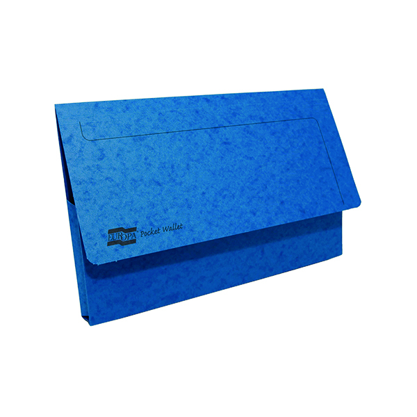 A4 Exacompta Europa Pocket Wallet Foolscap Blue (10 Pack) 5255Z