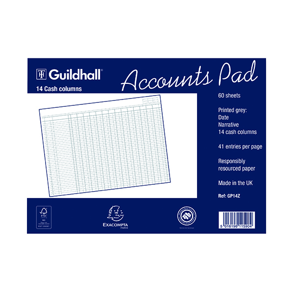 Analysis Pads Exacompta Guildhall 14-Column Cash Account Pad 298x406mm GP14