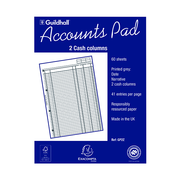 Analysis Pads Exacompta Guildhall 2-Column Cash Account Pad A4 GP2