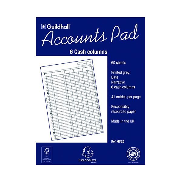 Analysis Pads Exacompta Guildhall 6-Column Cash Account Pad A4 GP6
