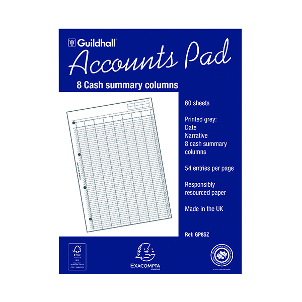 Analysis Pads Exacompta Guildhall Account Pad 8-Column Summary A4 GP8S