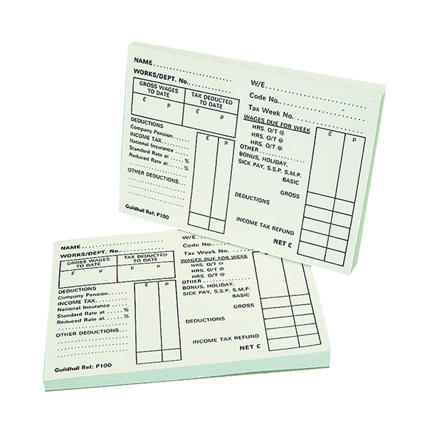 Exacompta Guildhall Pay Slip Pad 100 Leaves (5 Pack) 1609