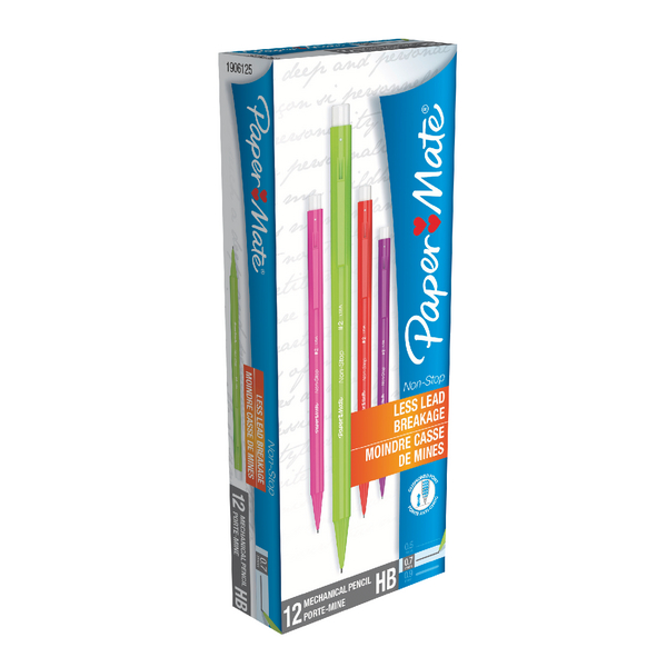 PaperMate Non-Stop Automatic Pencils 0.7mm HB Assorted Neon (12 Pack) 1906125