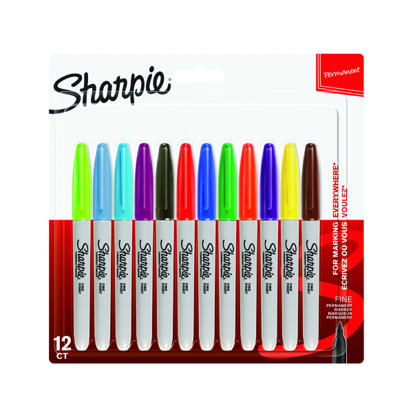 Sharpie Permanent Marker Fine Assorted (12 Pack) 1986438