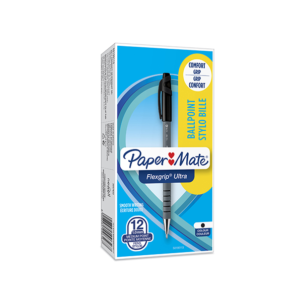 PaperMate Flexgrip Ultra Ballpoint Pen Medium Black (12 Pack) S0190113