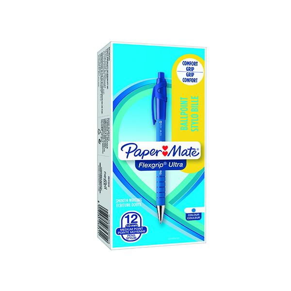 PaperMate Flexgrip Ultra Retractable Ballpoint Pen Medium Blue (12 Pack) S0190433