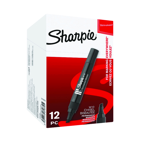 Sharpie W10 Permanent Marker Chisel Tip Black (12 Pack) S0192652