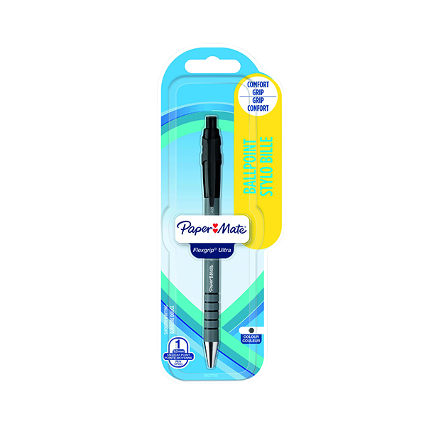 Papermate Flexgrip Retractable Black Ballpoint Pen Blister Card (12 Pack) 2027738
