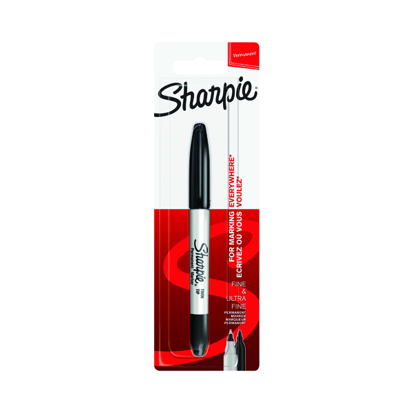 Sharpie Permanent Markers Twin Tip Blister Black (12 Pack) S0811100