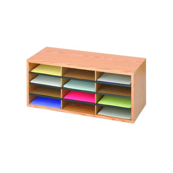 Literature Holders Safco 12 Compartment Literature Organiser Oak 9401MO