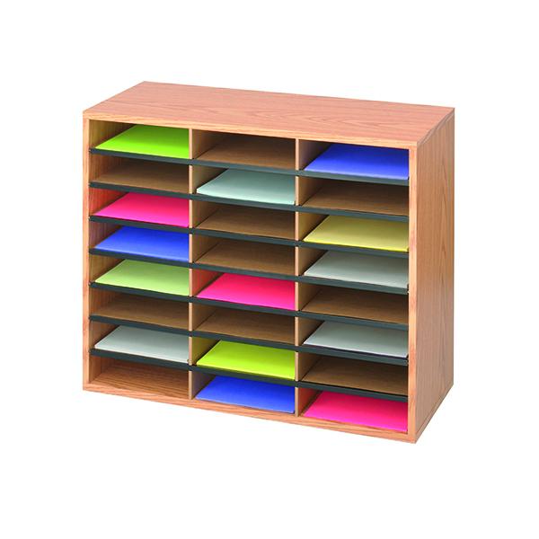 Post Boxes Safco 24 Compartment Literature Organiser Oak 9402MO