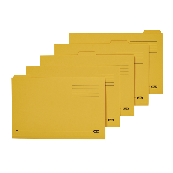 Elba Tabbed Folder Midweight 250gsm Foolscap Yellow (100 Pack) 100090237