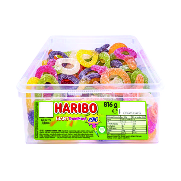 Sweets/Chocolate Haribo Giant Dummies Zing Tub 13444