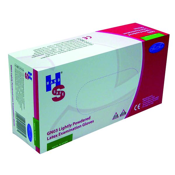 Disposable Gloves Handsafe Powdered Natural Latex Medium Gloves (100 Pack) GN03