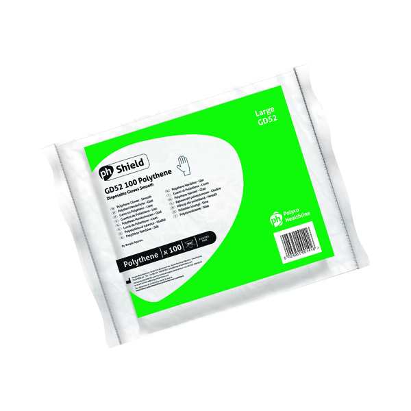 Shield Clear Polyethylene Gloves in Bags Large (100 Pack) GD52