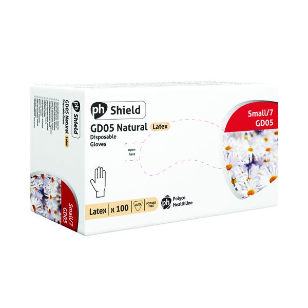 Shield Powder-Free Natural Latex Small Gloves (100 Pack) GD05