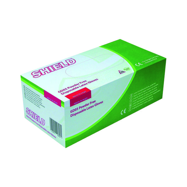 Shield Small Powder Free Latex Gloves (1000 Pack) HEA00397