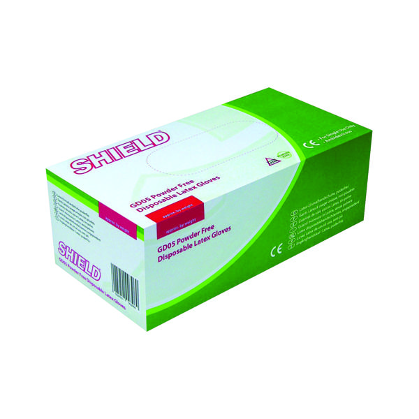 Shield Large Powder Free Latex Gloves (1000 Pack) HEA00401