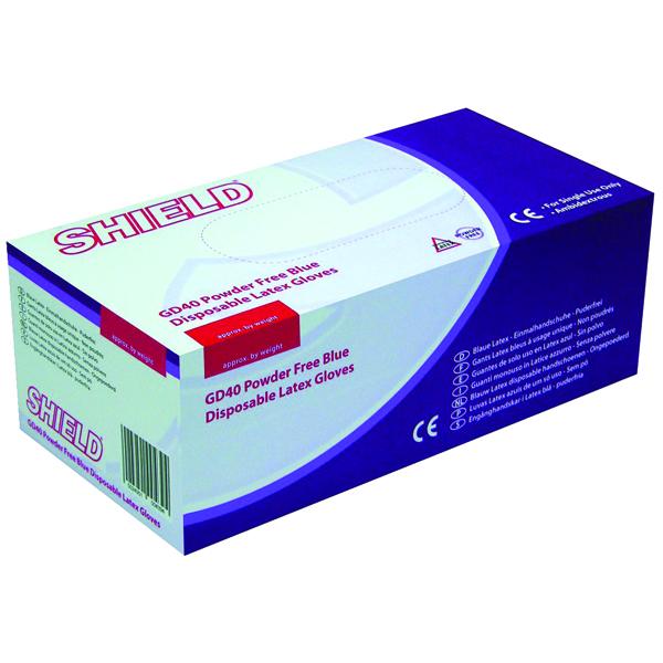 Shield Powder-Free Blue Latex Medium Gloves (100 Pack) GD40