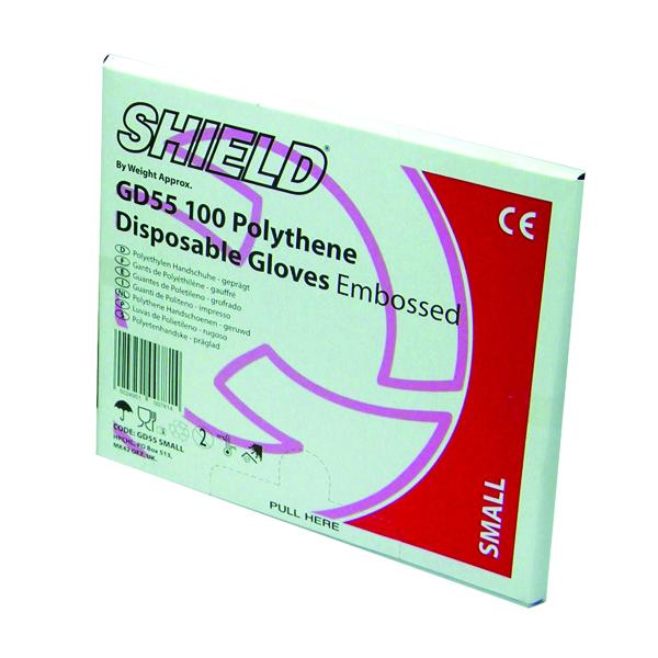 Shield Embossed Polythene Gloves for Black Dispenser Large (100 Pack) GD55