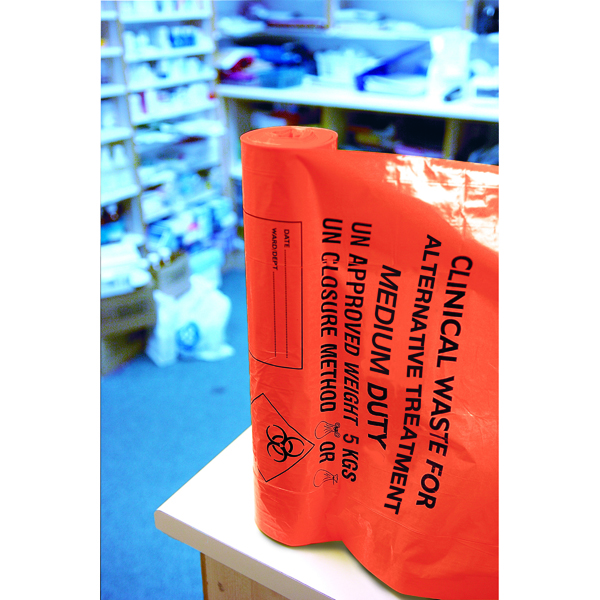Binliner/Bags Clinical Waste Sack Medium Duty Orange (200 Pack) AT25/M111