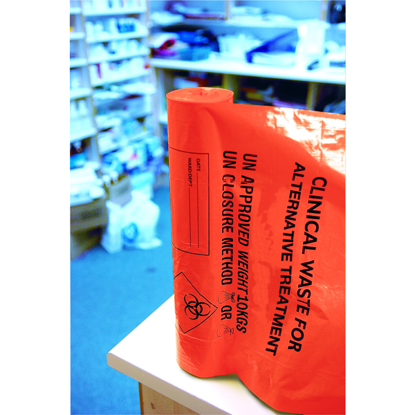 Binliner/Bags Clinical Waste Sack Heavy Duty Orange (100 Pack) AT25/M085