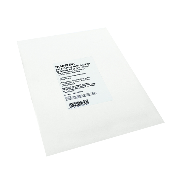 Film Transtext Self-Adhesive Clear Film A4 210mmx297mm (25 Pack) UG6904