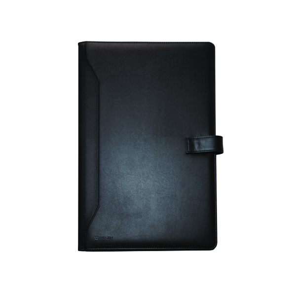 Potfolios Monolith Leather Look Conference Folder PU With A4 Pad Black 2900