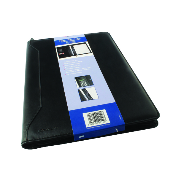 Potfolios Monolith Leather Look Conference Folder With A4 Pad and Calculator Black 2914