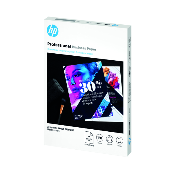 Other Sizes HP Professional Business Paper Glossy 180gsm A4 150 Sheets 3VK91A
