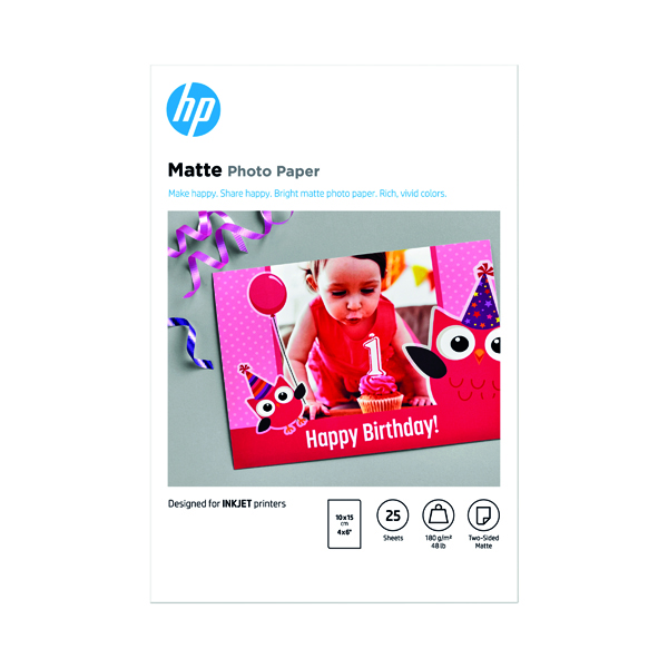 Photo Size HP Matte FSC Photo Paper 4x6 Inch (25 Pack) 7HF70A