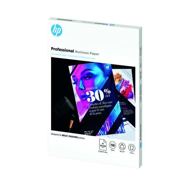 Other Sizes HP Professional Business Paper Glossy 180gsm A3 150 Sheets 7MV84A
