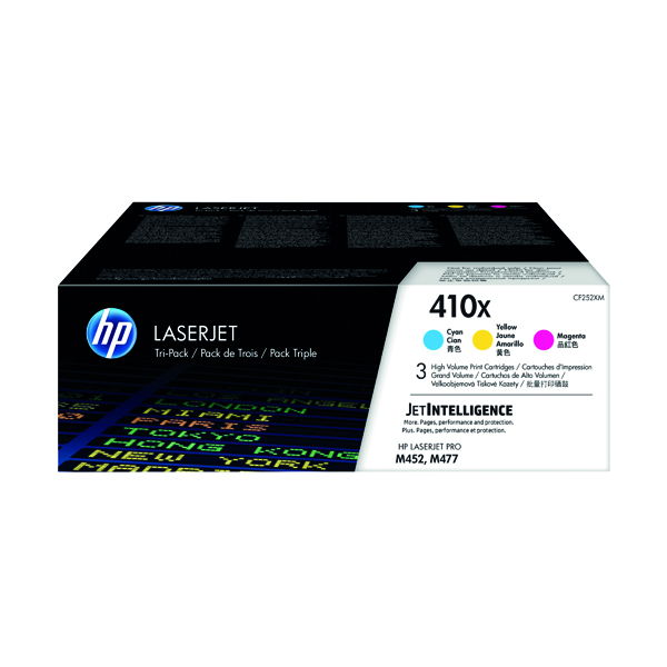 MultiColour HP 410X High Yield Cyan Magenta Yellow LaserJet Toner Cartridge (3 Pack) CF252XM