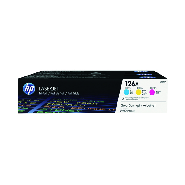 MultiColour HP 126A Cyan/Magenta/Yellow LaserJet Toner Cartridge (3 Pack) CF341A