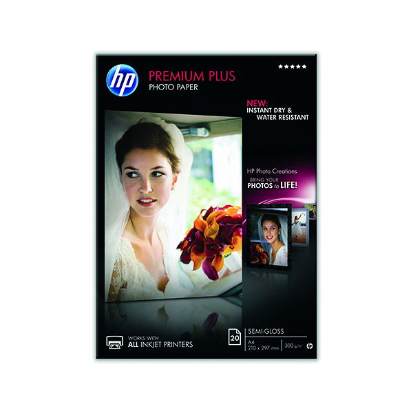 HP White A4 Premium Semi-Glossy Photo Paper (20 Pack) CR673A