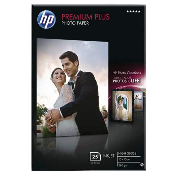 HP White 10x15cm Premium Plus Glossy Photo Paper (25 Pack) CR677A